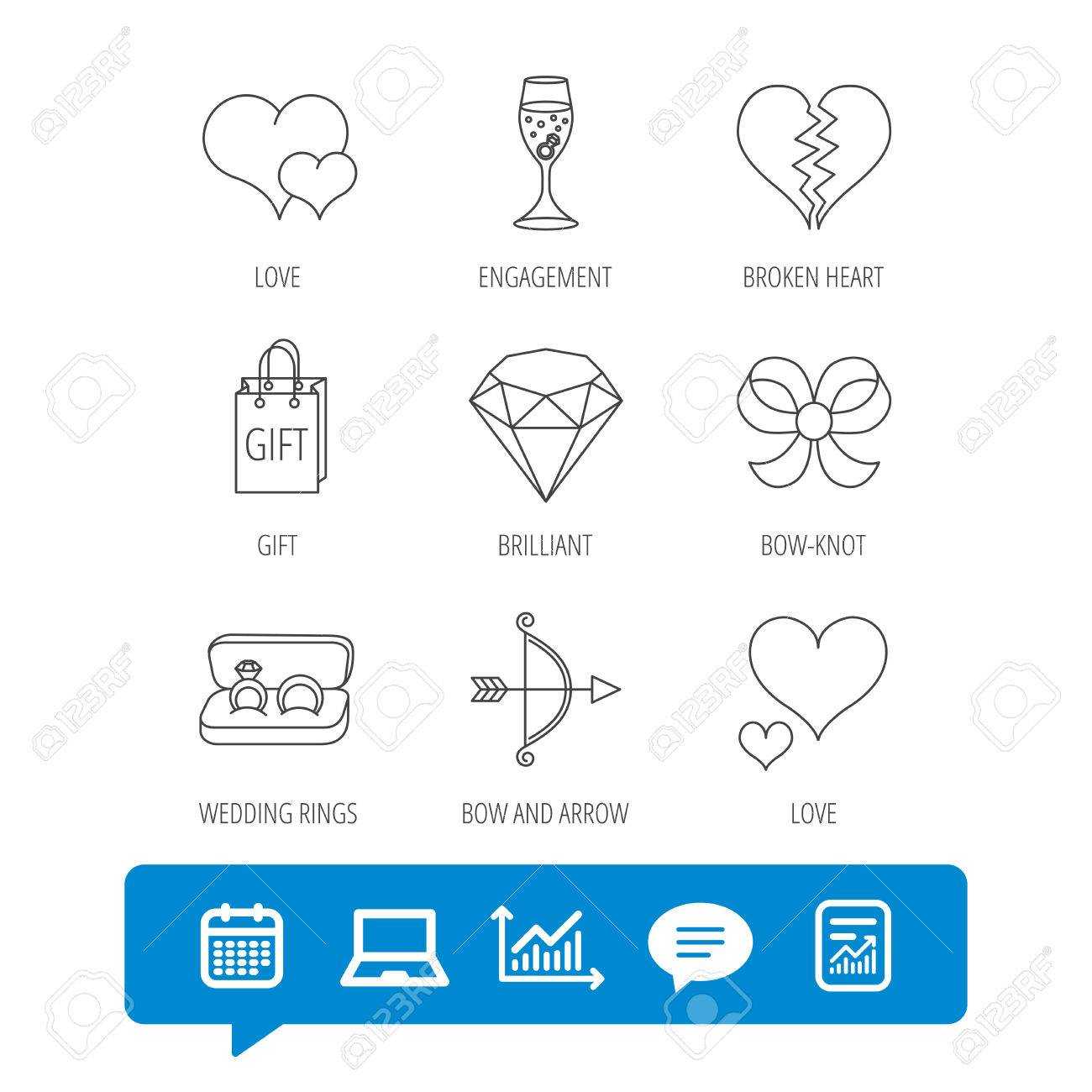 Love Heart Gift Box And Wedding Rings Icons Broken Heart And