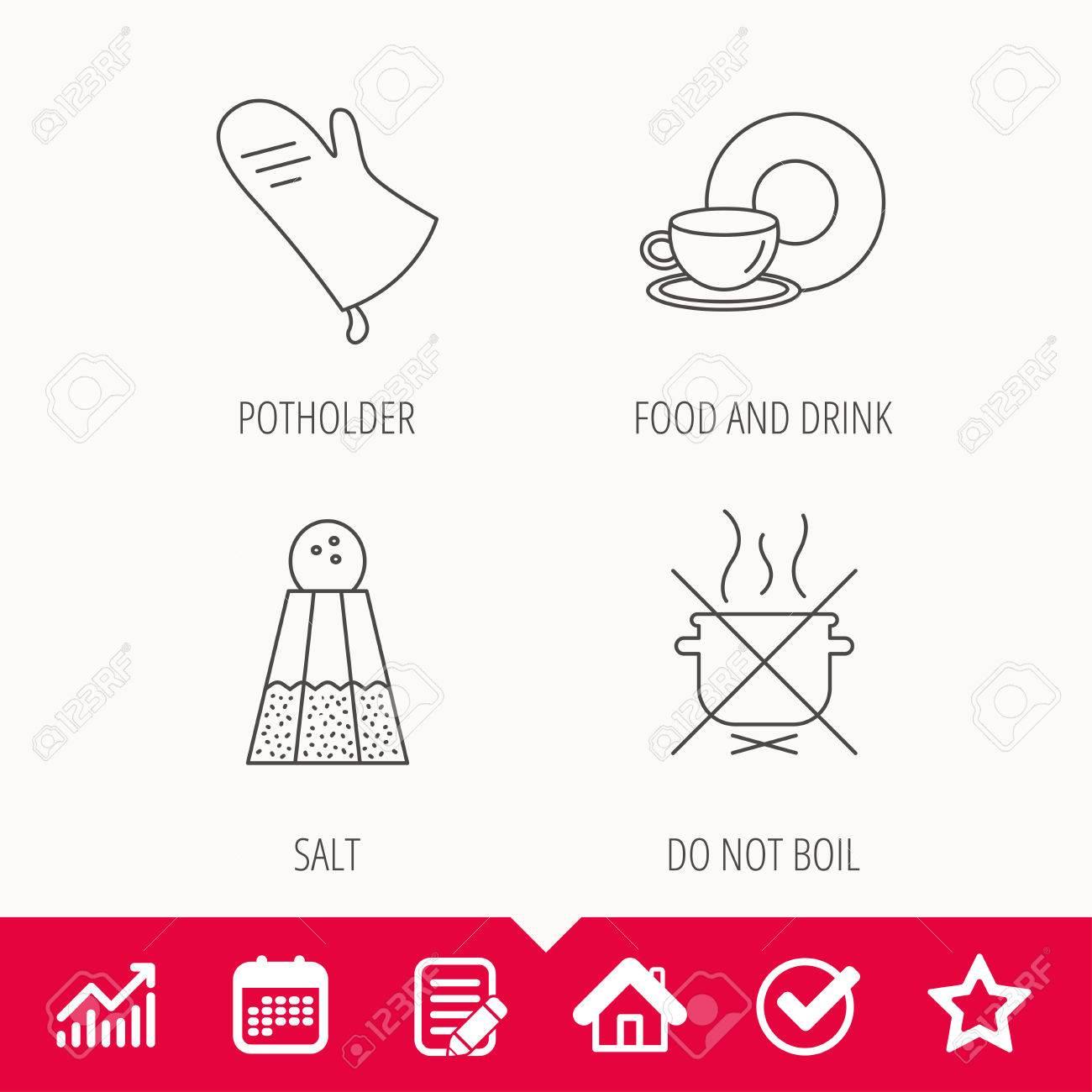 Salz Potholder Und Essen Trinken Ikonen Kochen Sie Nicht Das