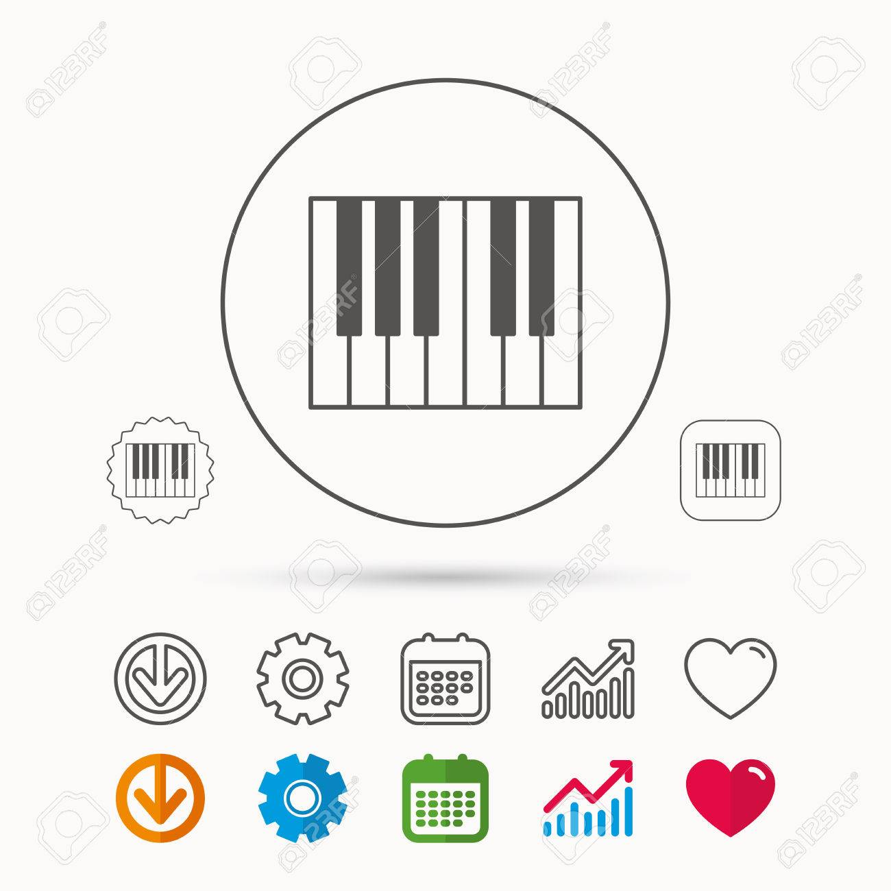 Piano icon  Royal musical instrument sign  Calendar, Graph chart