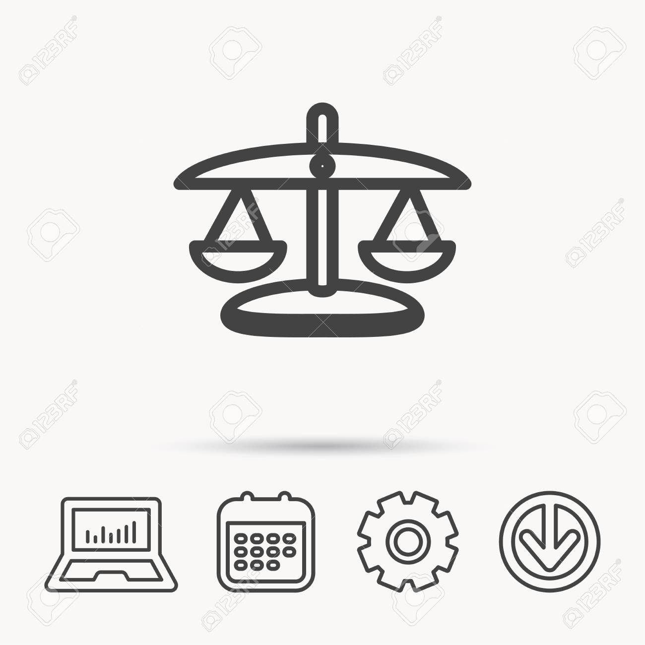 Scales Of Justice Icon Law And Judge Sign Measurement Tool