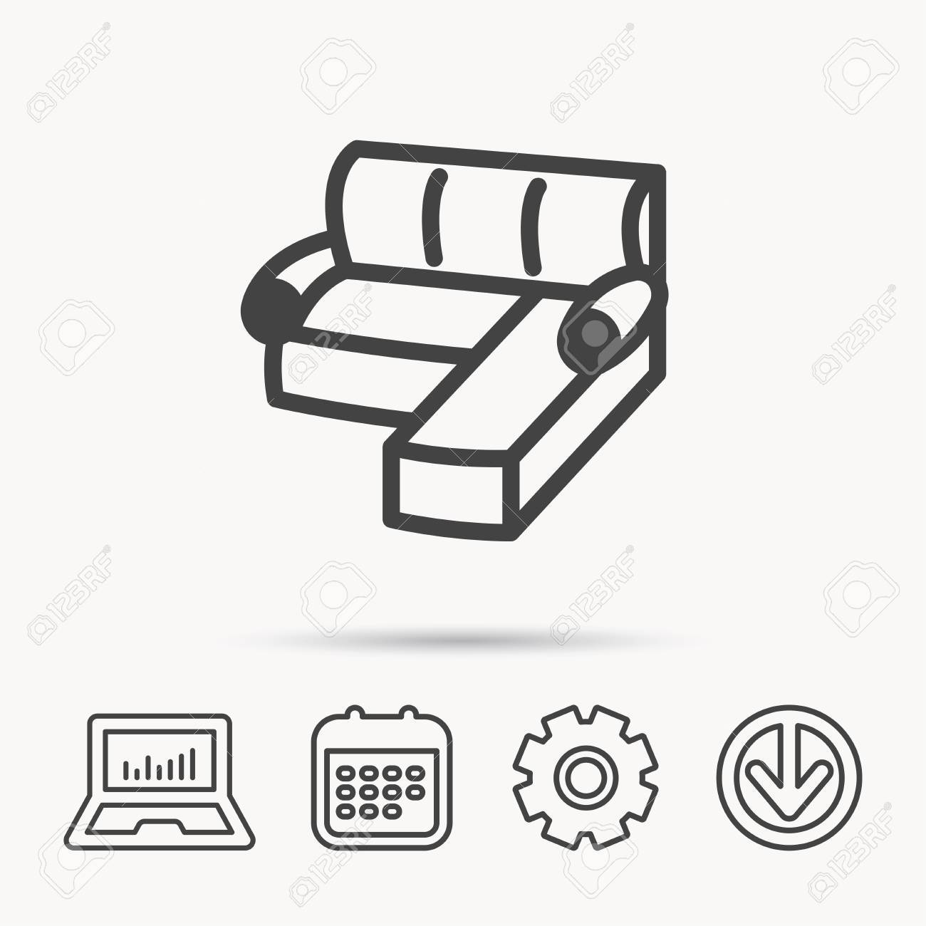 Corner Sofa Icon Comfortable Couch Sign Furniture Symbol Notebook