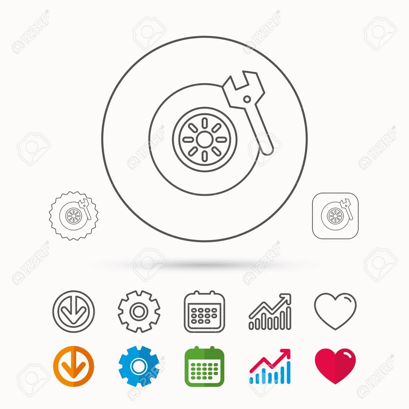 Reifenservice-Symbol. Rad Und Schlüssel Schlüssel Zeichen. Kalender ...