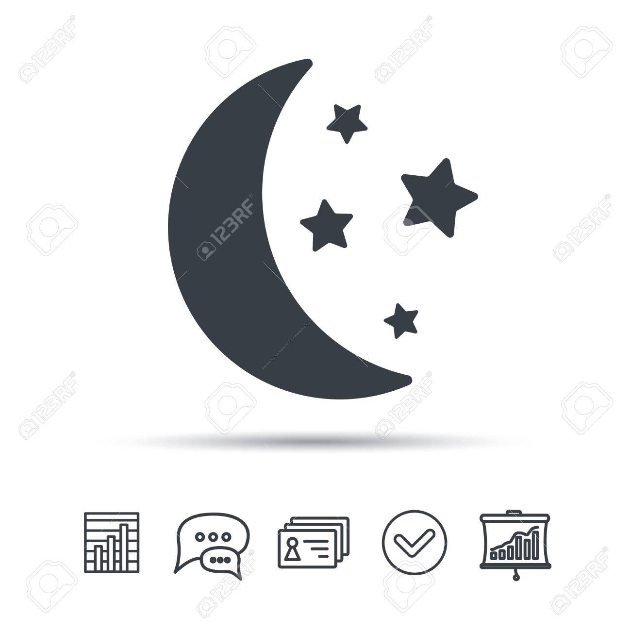 Moon And Stars Icon Night Sleep Symbol Chat Speech Bubble