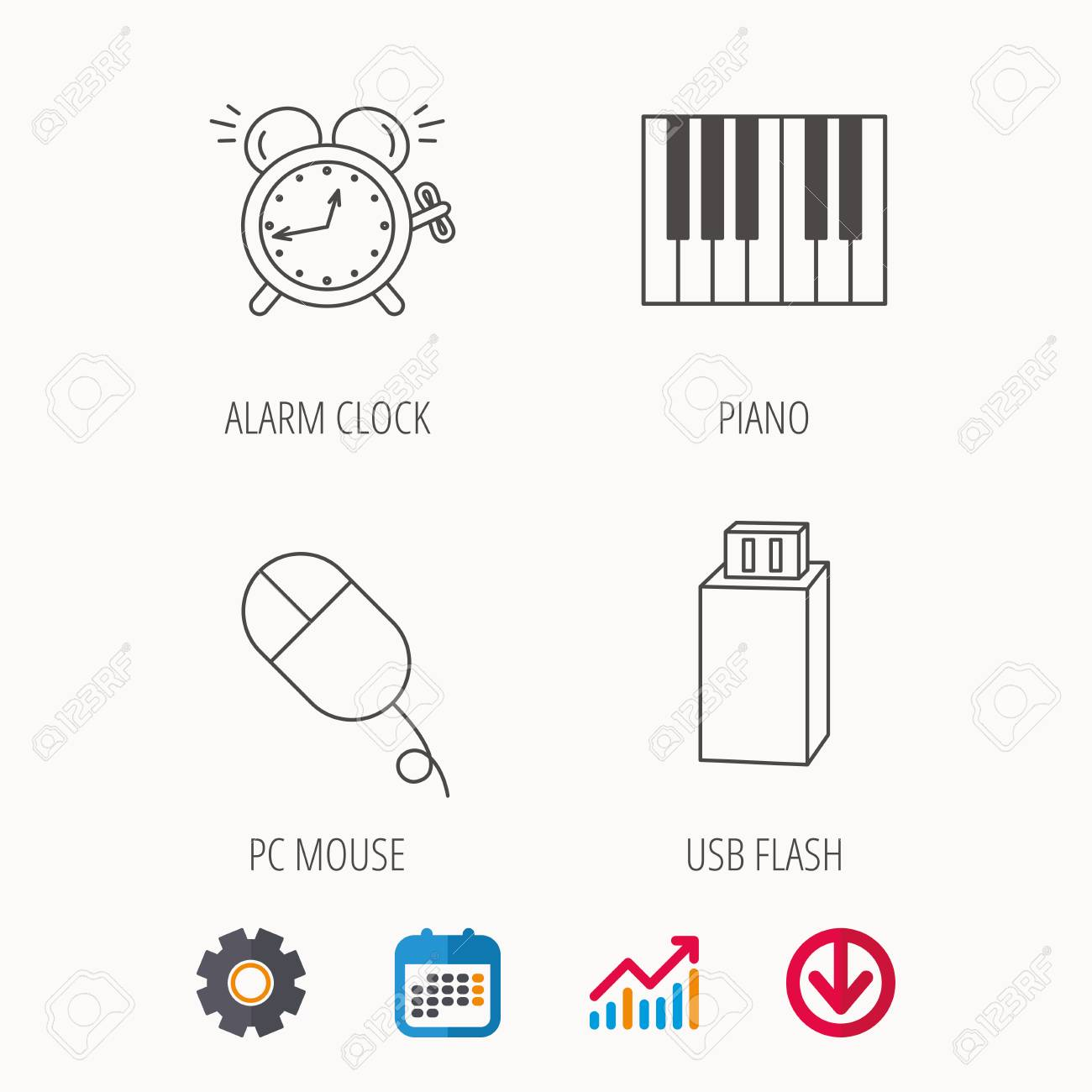Alarm clock, USB flash and PC mouse icons  Piano linear sign