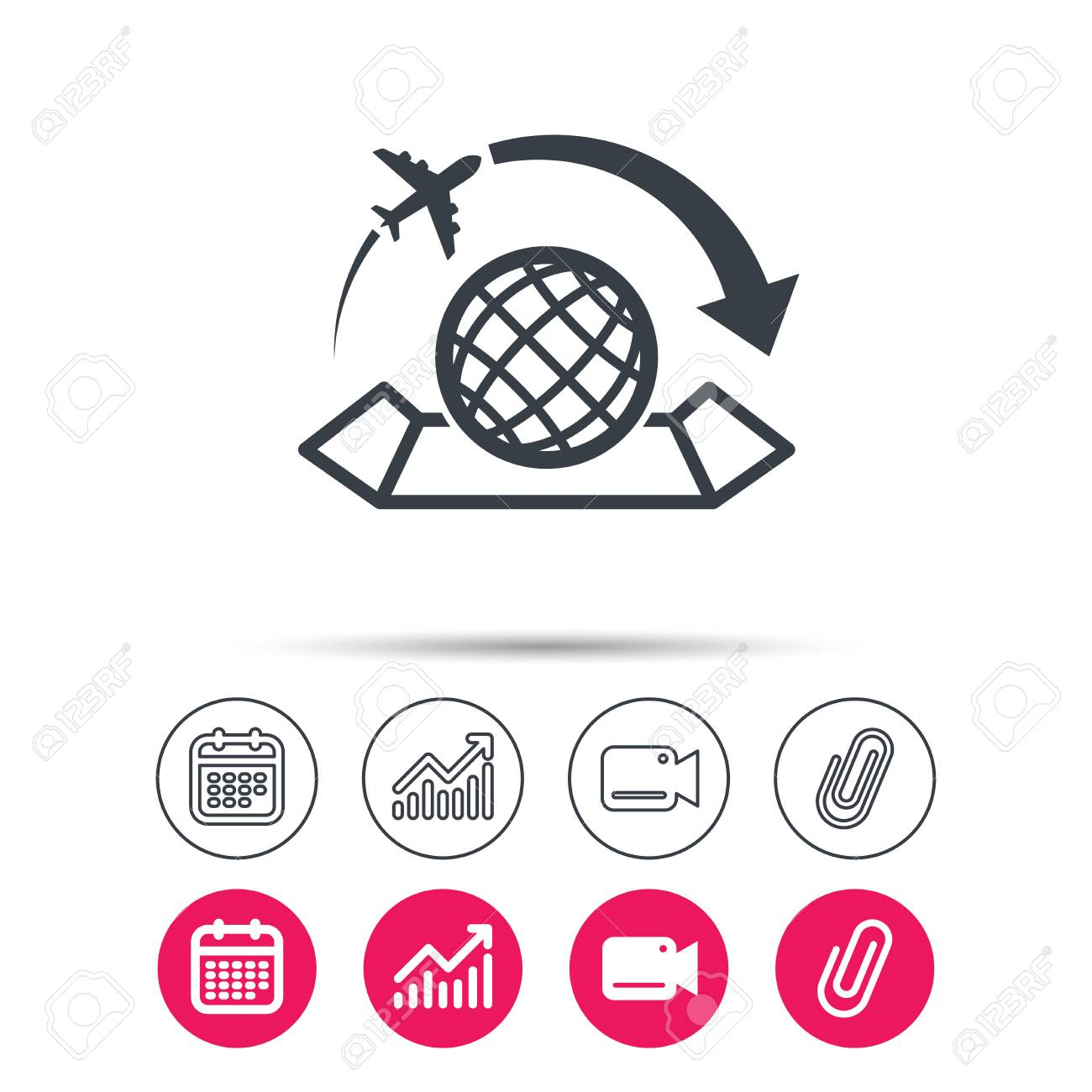 World map icon globe with arrow sign plane travel symbol vector world map icon globe with arrow sign plane travel symbol statistics chart calendar and video camera signs attachment clip web icons gumiabroncs Choice Image