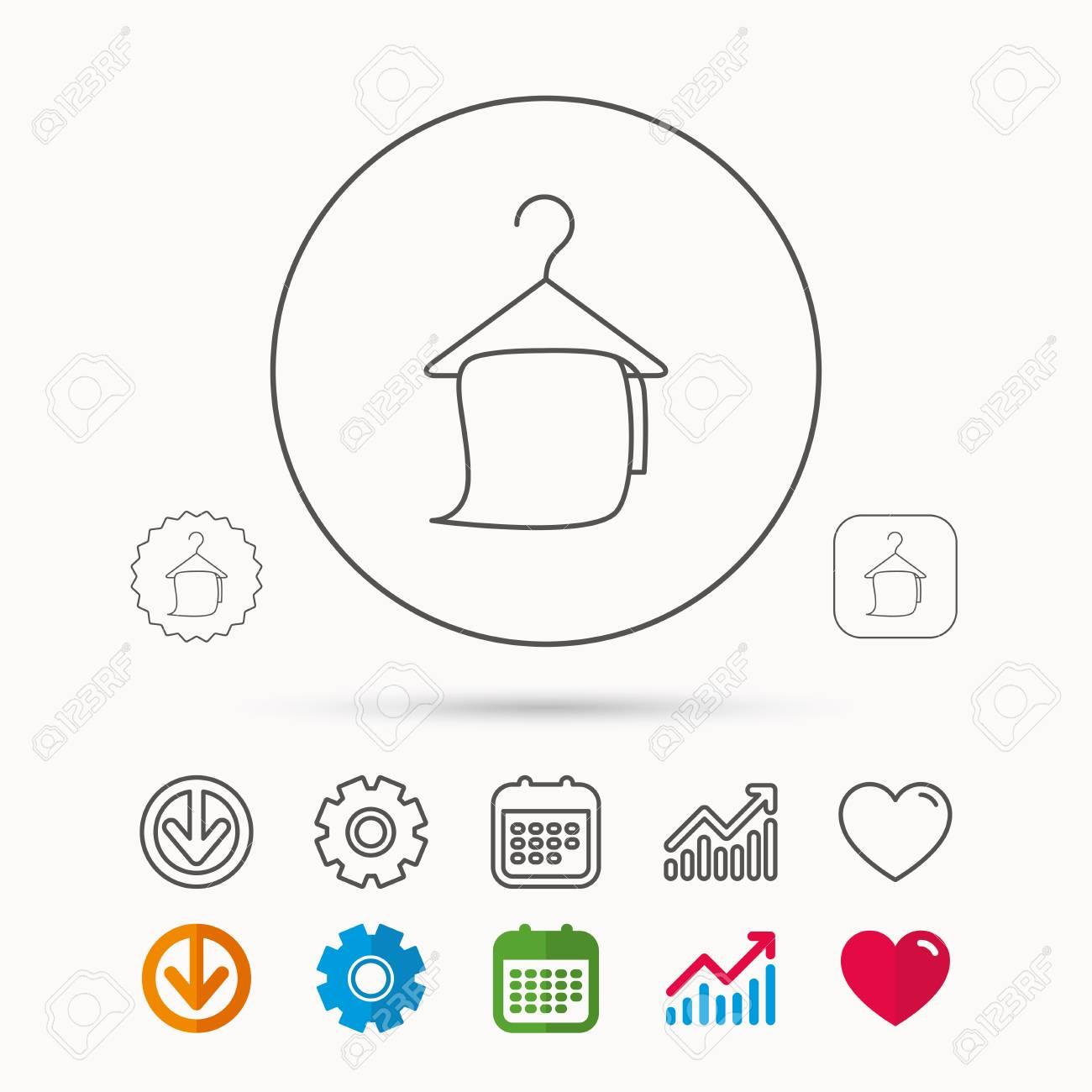 Badetuch-Symbol. Reinigungsservice Zeichen. Bad Aufhänger Symbol ...