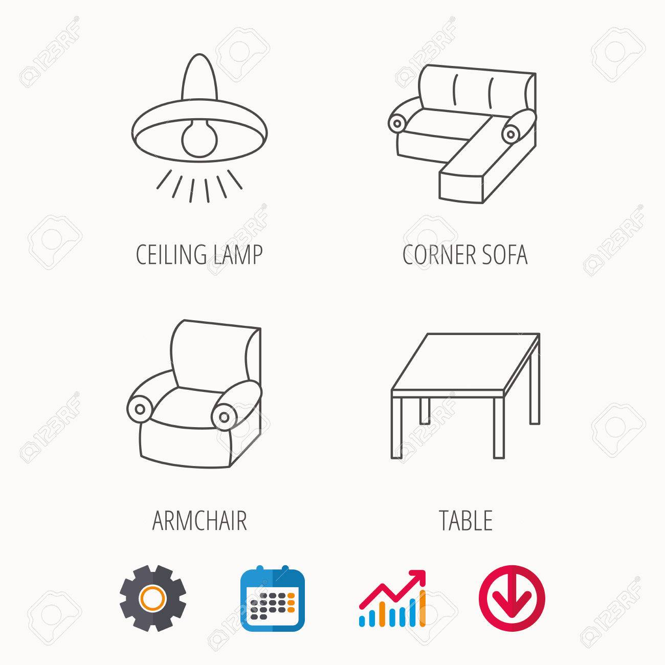 Corner Sofa Table And Armchair Icons Ceiling Lamp Linear Signs