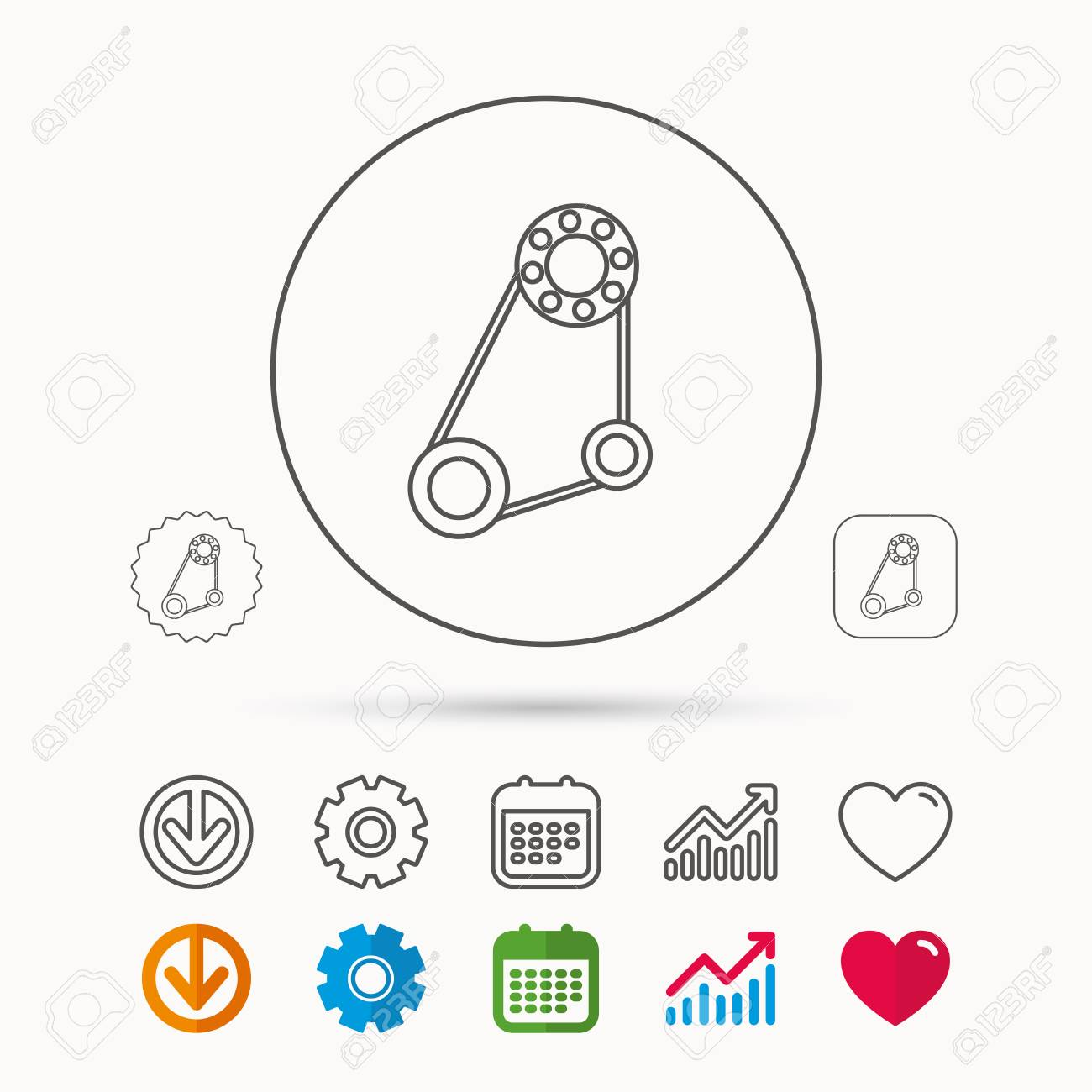 Timing Belt Icon Generator Strap Sign Repair Service Symbol Book Calendar Graph Chart