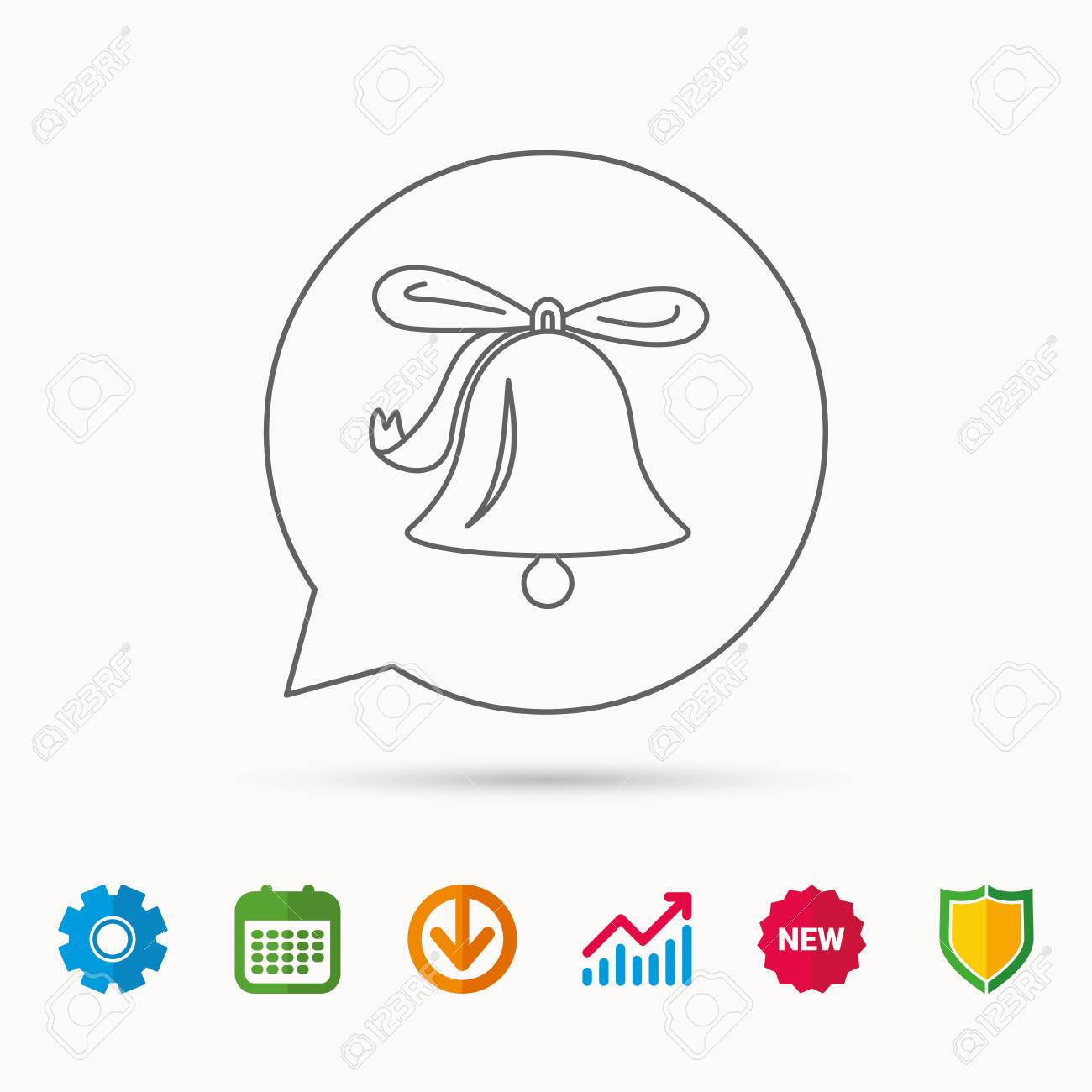 Ringing jingle bell icon  Sound sign  Alarm handbell symbol