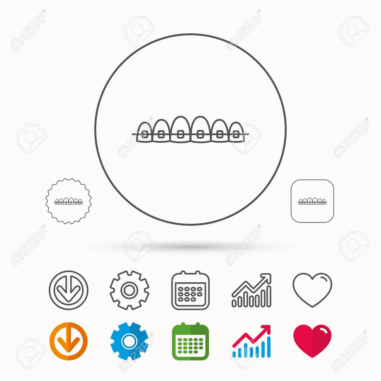 Dental braces icon teeth healthcare sign orthodontic symbol dental braces icon teeth healthcare sign orthodontic symbol calendar graph chart and ccuart Choice Image