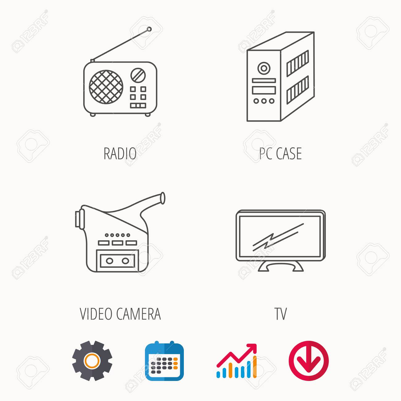 Radio, TV and video camera icons  PC case linear sign  Calendar,
