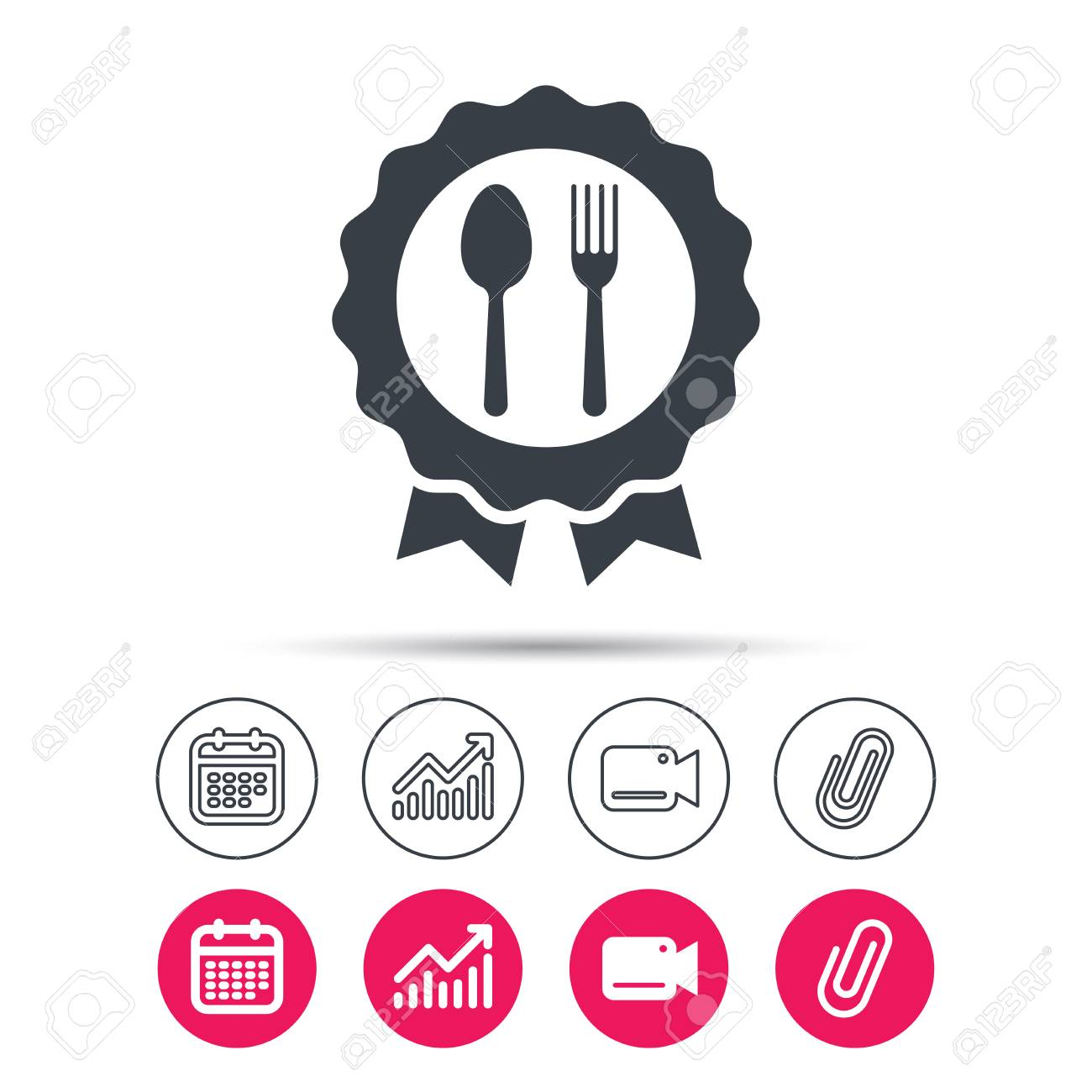 Award Medal Icon Food Winner Emblem Symbol Fork And Spoon Signs