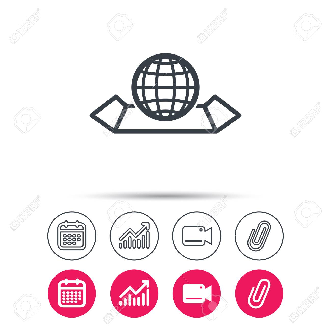 World map icon globe sign travel location symbol statistics vector world map icon globe sign travel location symbol statistics chart calendar and video camera signs attachment clip web icons vector gumiabroncs Images