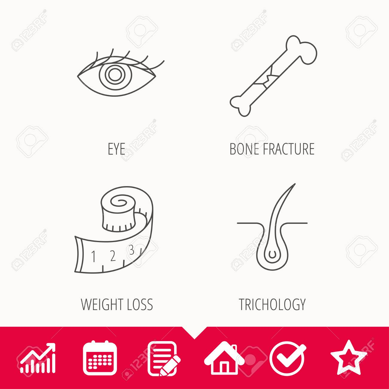 Bone fracture, weight loss icons, eye linear sign  Edit document,