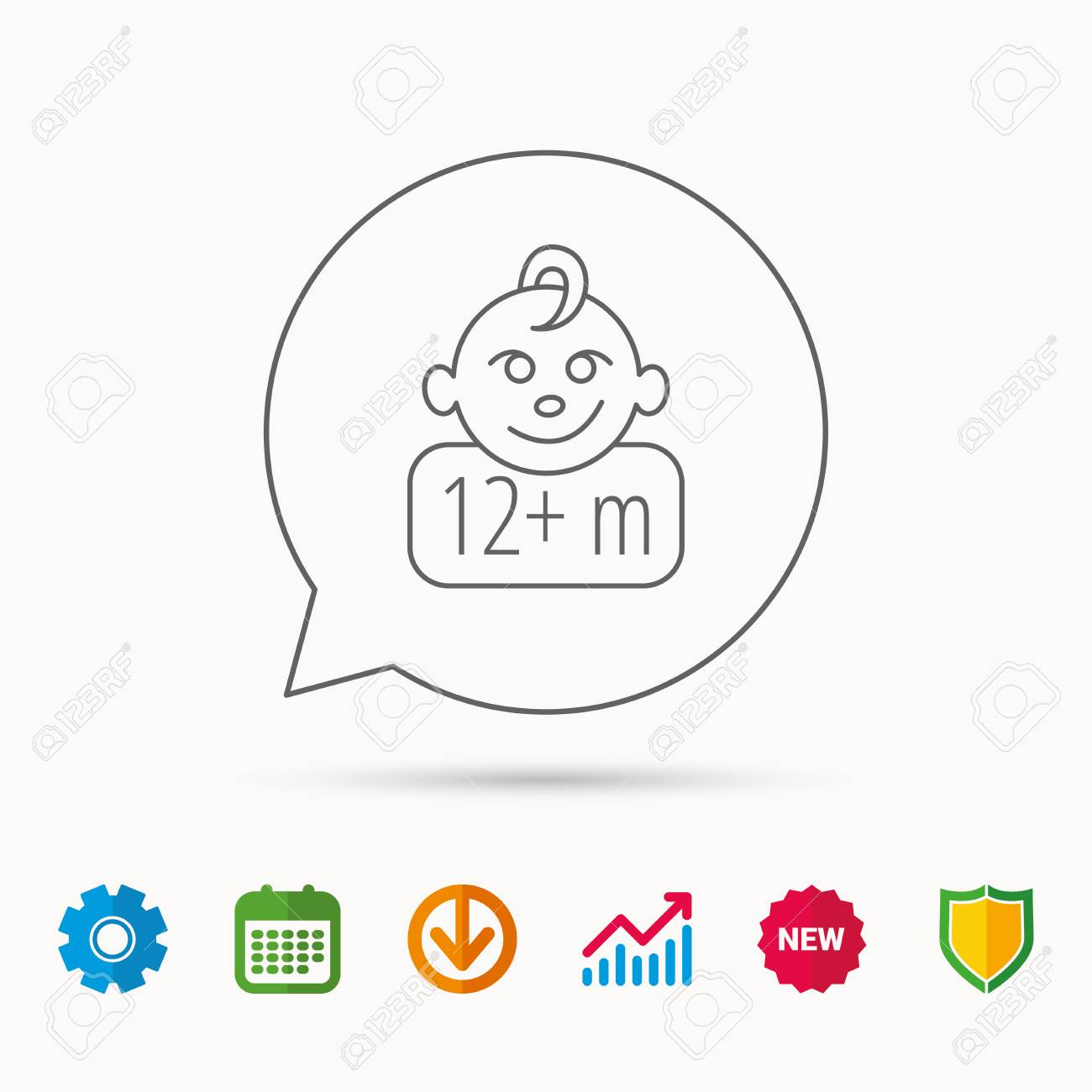 Baby Face Icon Use Of Twelve Months And Plus Symbol