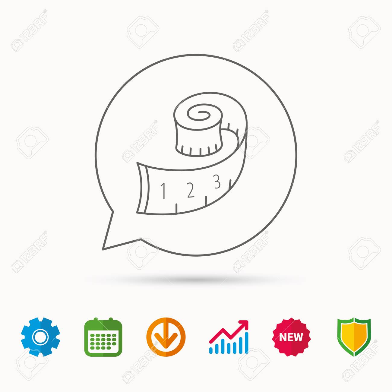 Measuring tape icon  Weight loss sign  Calendar, Graph chart