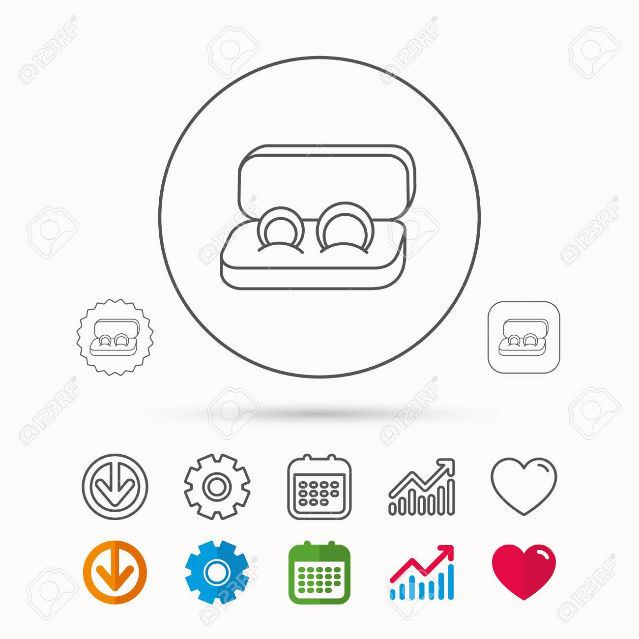 Wedding Rings Icon Jewelry Sign Marriage Symbol Royalty Free