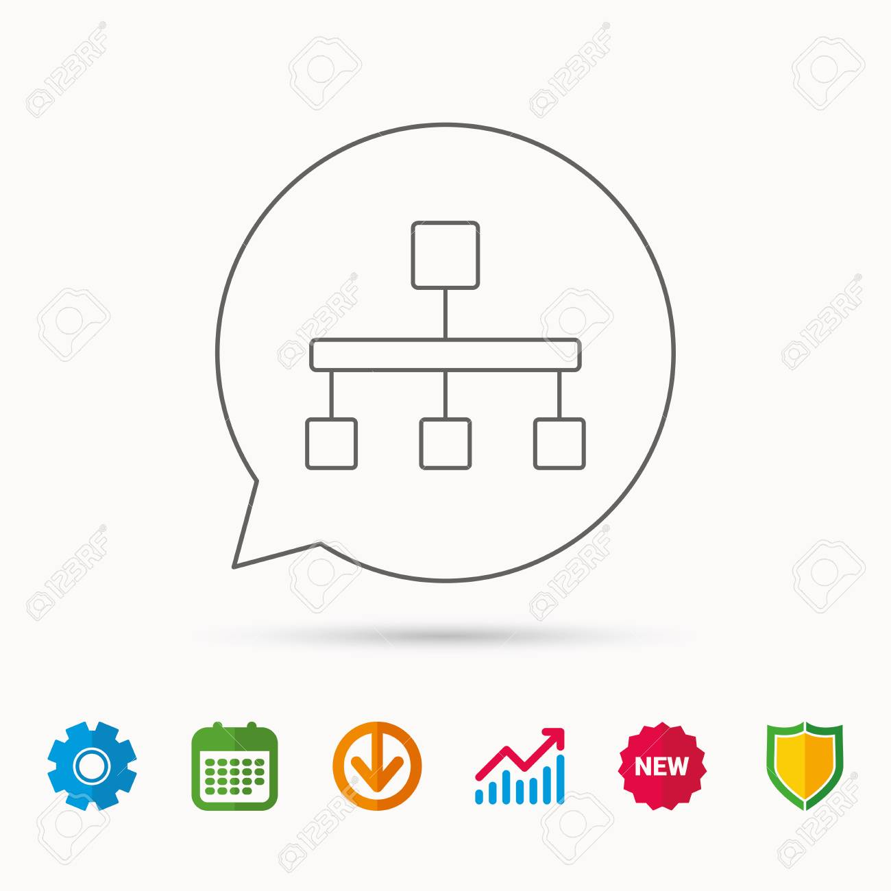 Hierarchy icon  Organization chart sign  Database symbol  Calendar,