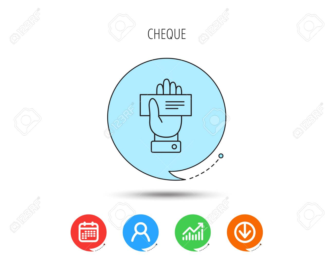 Cheque Icon Giving Hand Sign Paying Check In Palm Symbol Calendar