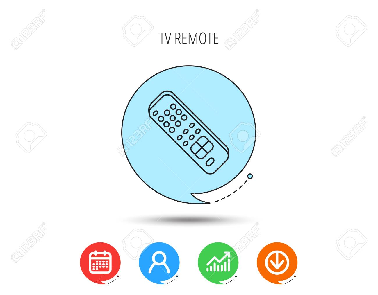 Remote control icon  TV switching channels sign  Calendar, User