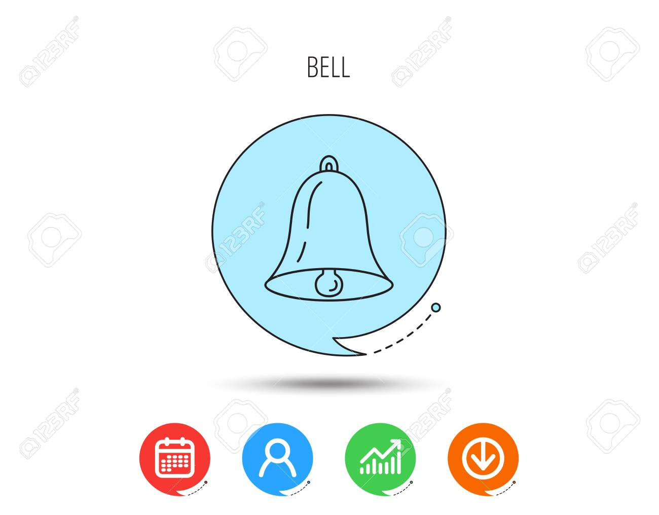 Bell icon  Sound sign  Alarm handbell symbol  Calendar, User