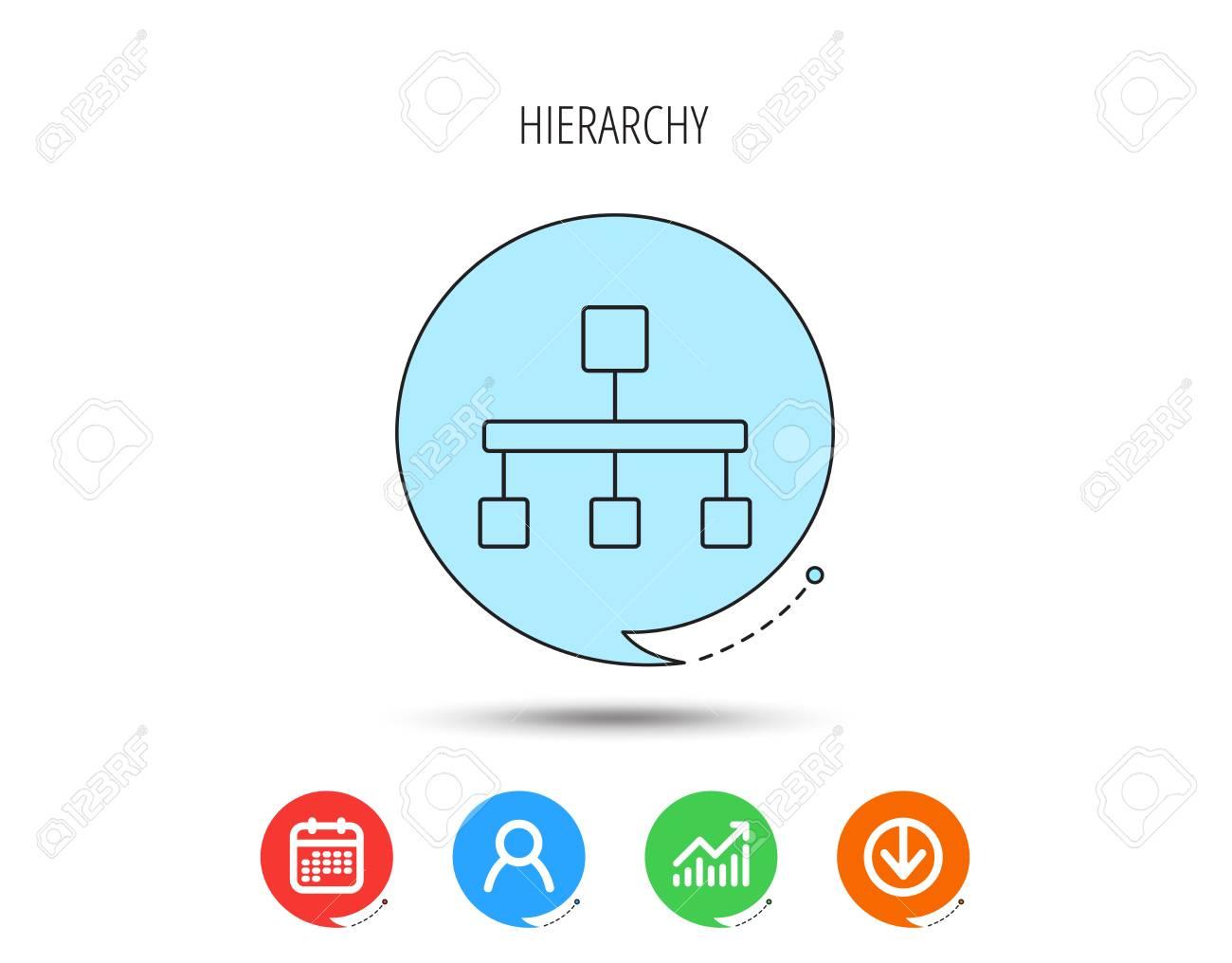 Hierarchy icon  Organization chart sign  Database symbol  Calendar,