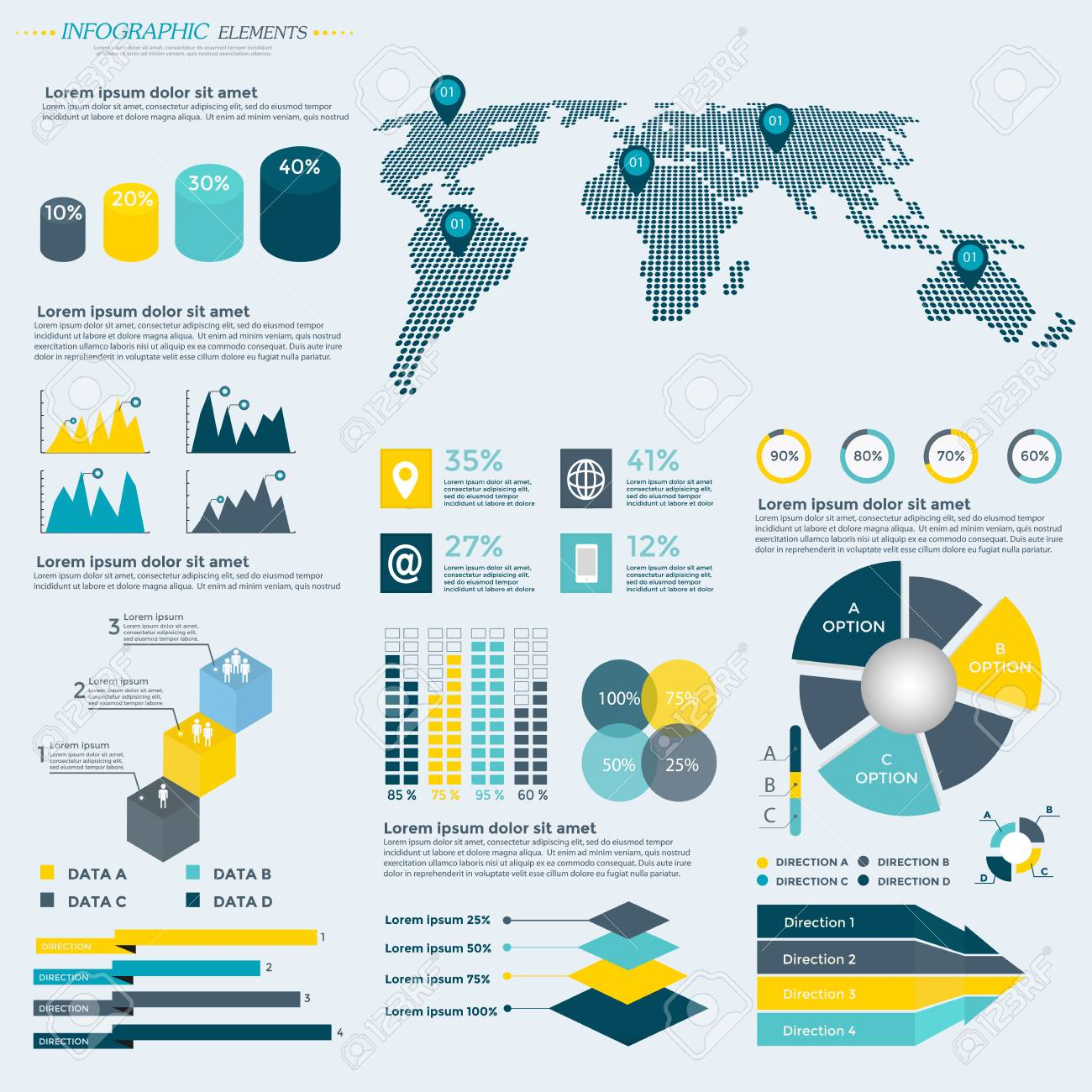 infographics elements collection business vector illustration