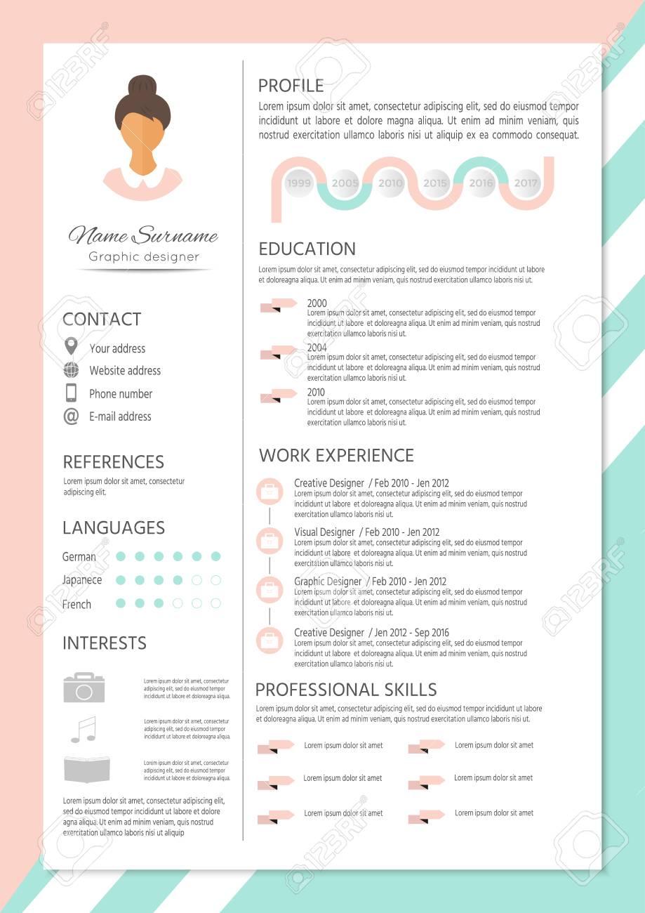 Feminine Lebenslauf Mit Infografischem Design. Stylish CV Für Frauen ...