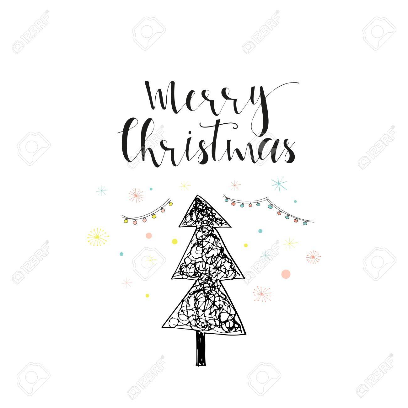Merry Christmas Cute Greeting Card With Tree Scandinavian Style