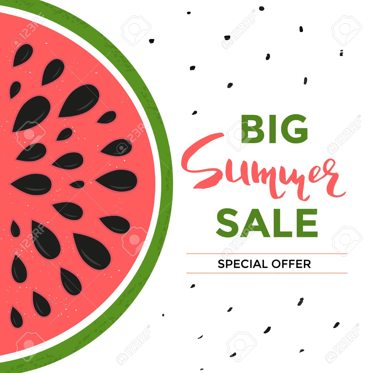 social media sale banner or summer special offer with watermelon
