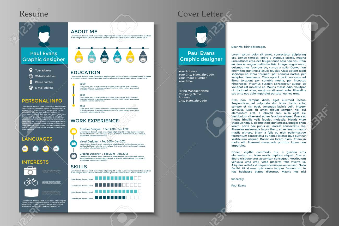 d7abd7052600 Resume and Cover letter collection. Modern CV set with Infographics  elements. Awesome for job