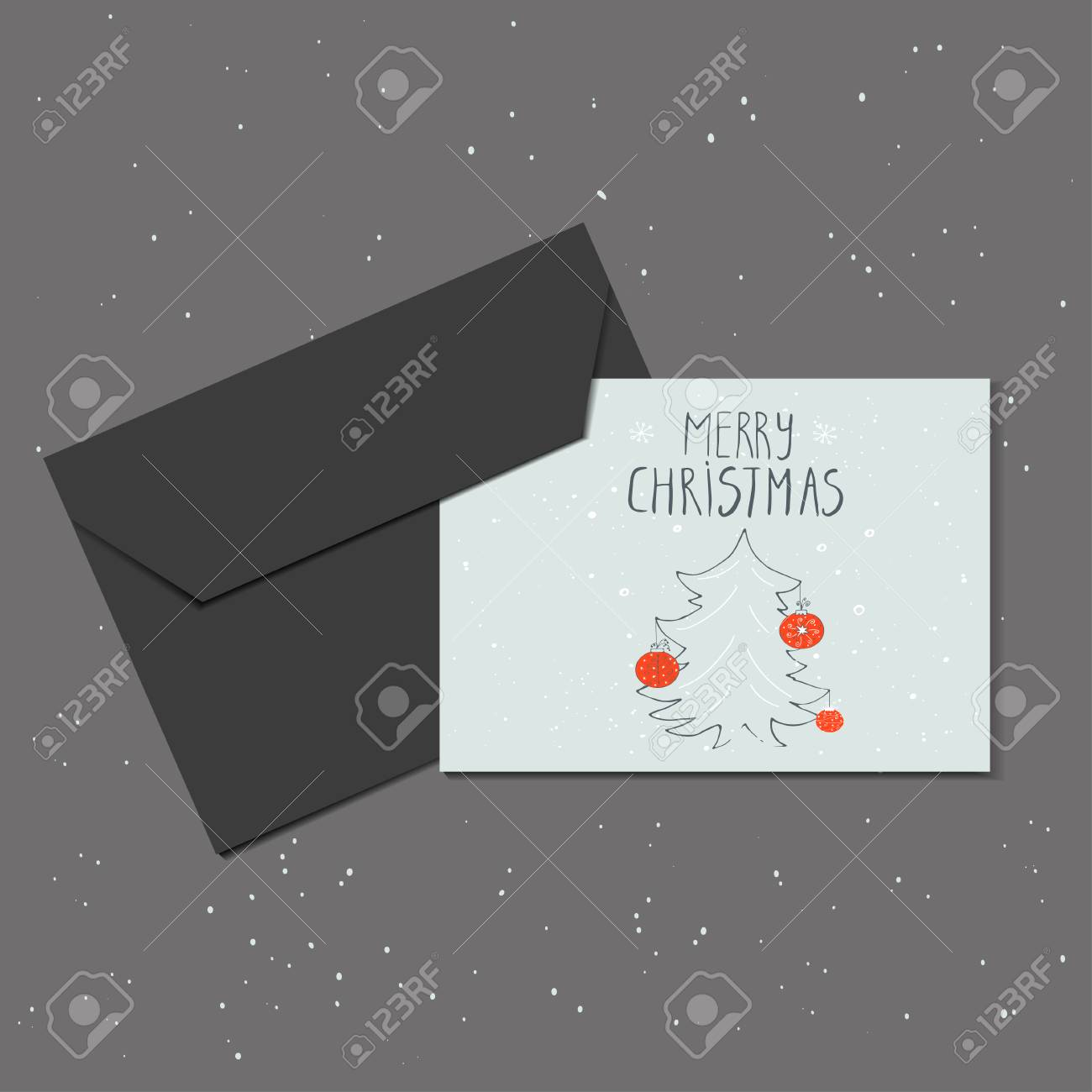 Christmas Greeting Card With Envelope Made In Vector Christmas