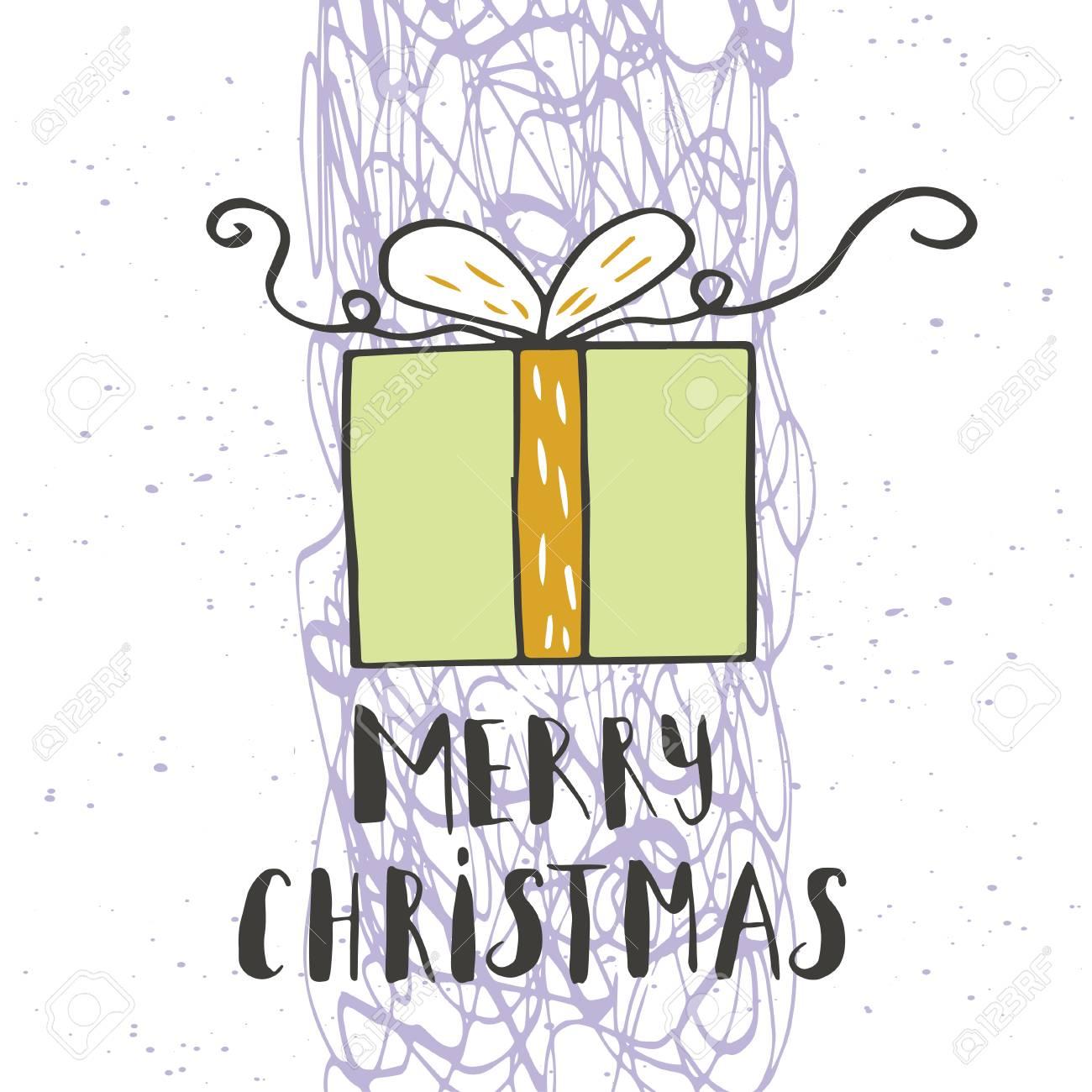 Texto De Feliz Navidad Sobre Un Fondo De Invierno Con Nieve, árboles ...