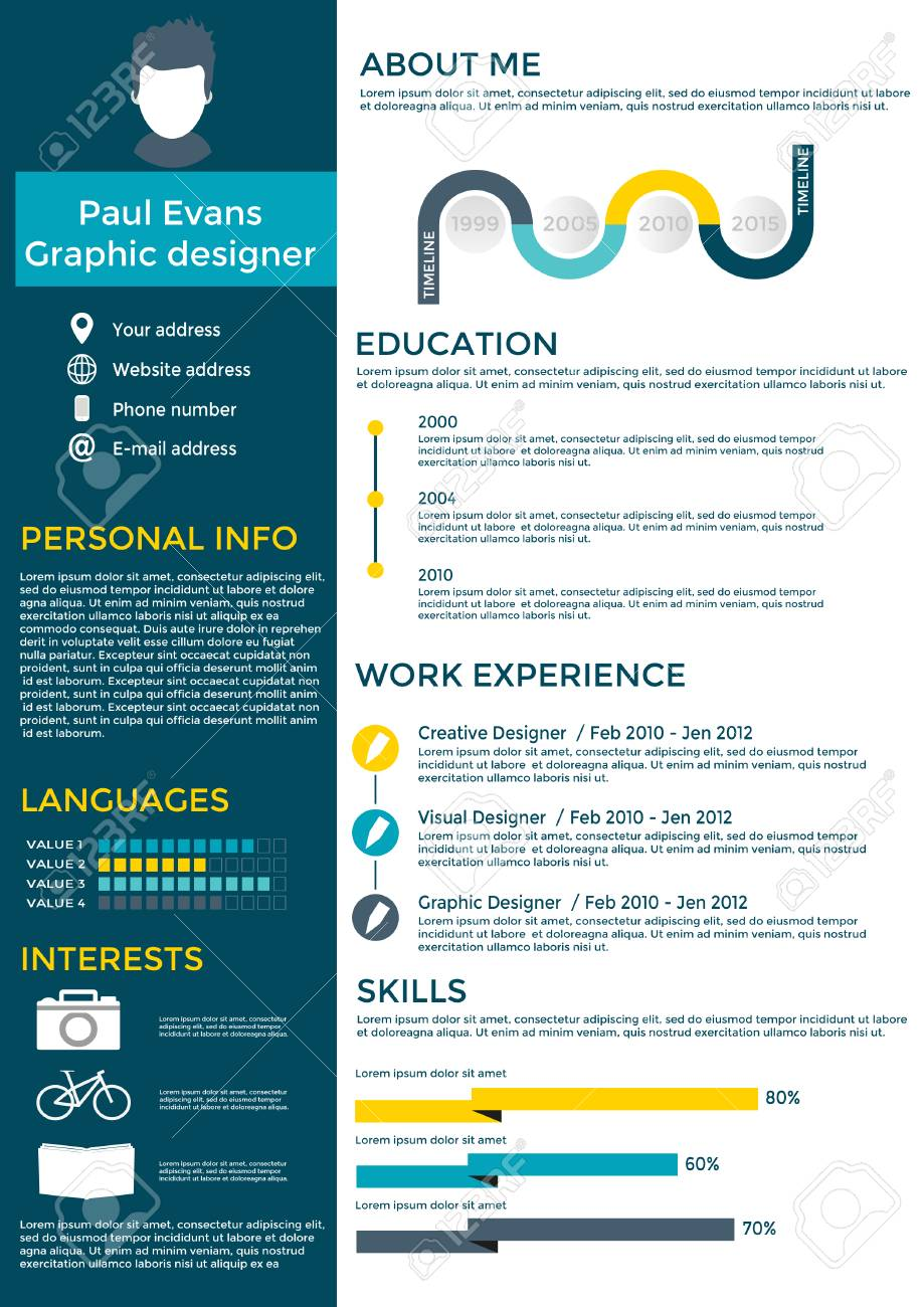flat resume infographic design resume cv set with infographics