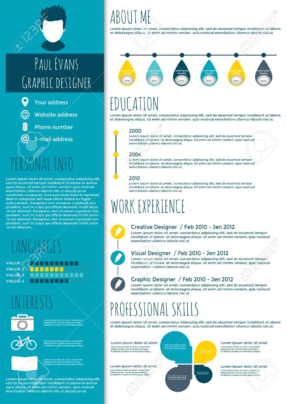 resume Flat Resume Design flat resume infographic design cv set with infographics and timeline clean vector