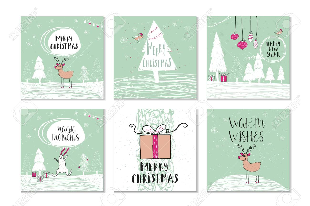 Set Of 6 Cute Christmas Gift Cards With Quote Merry Christmas ...