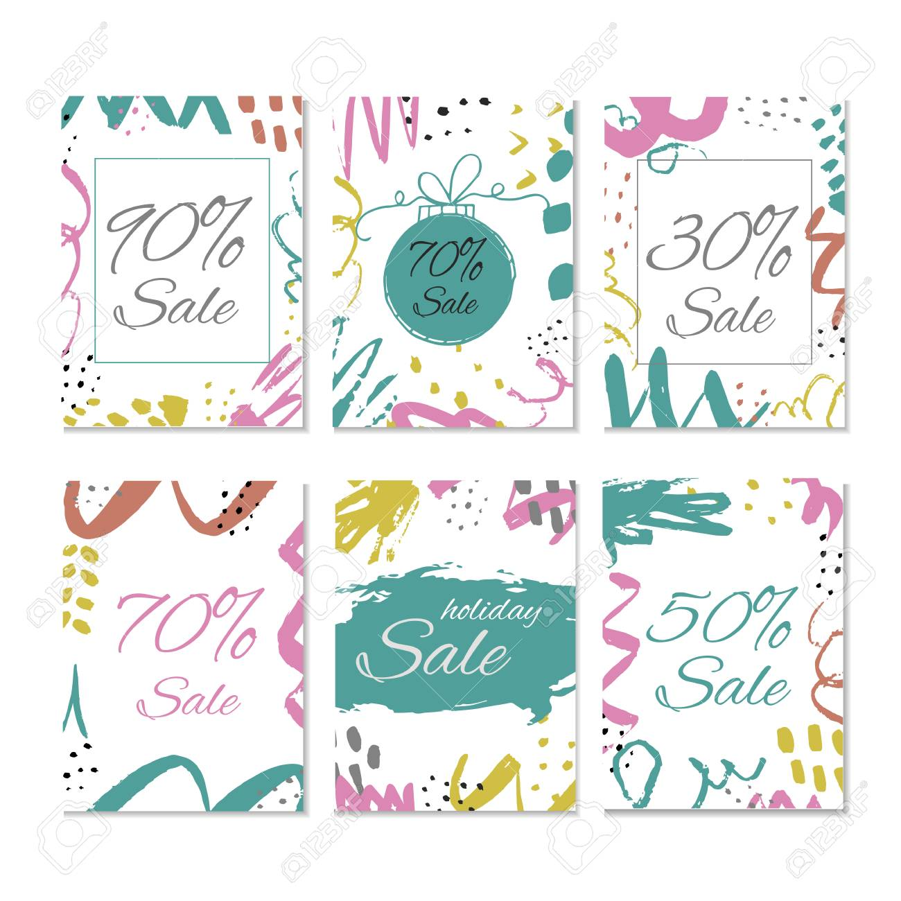 set of 6 creative sale holiday website banner templates christmas and new year hand drawn