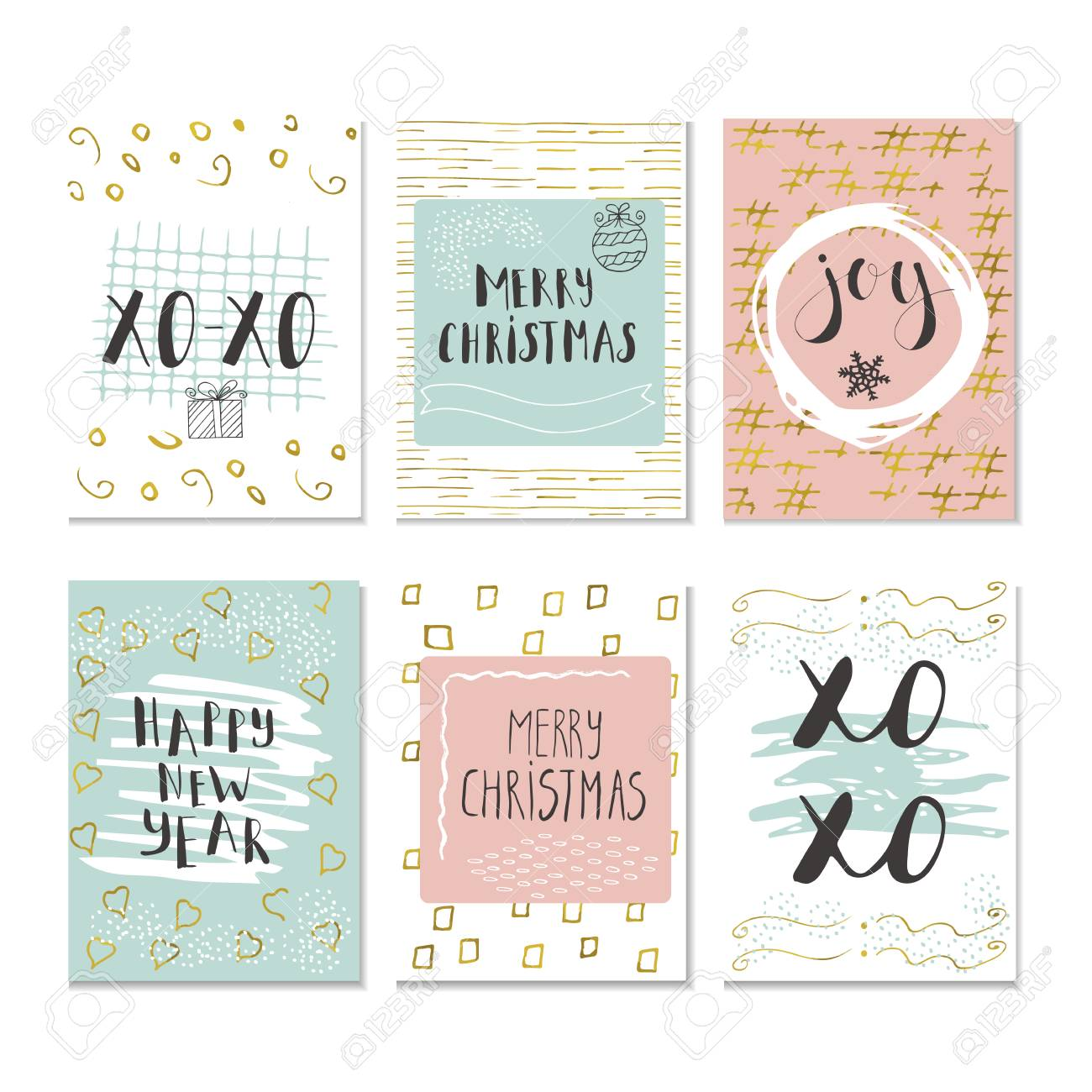 Set Of 6 Christmas And Happy New Year Greeting Cards With ...