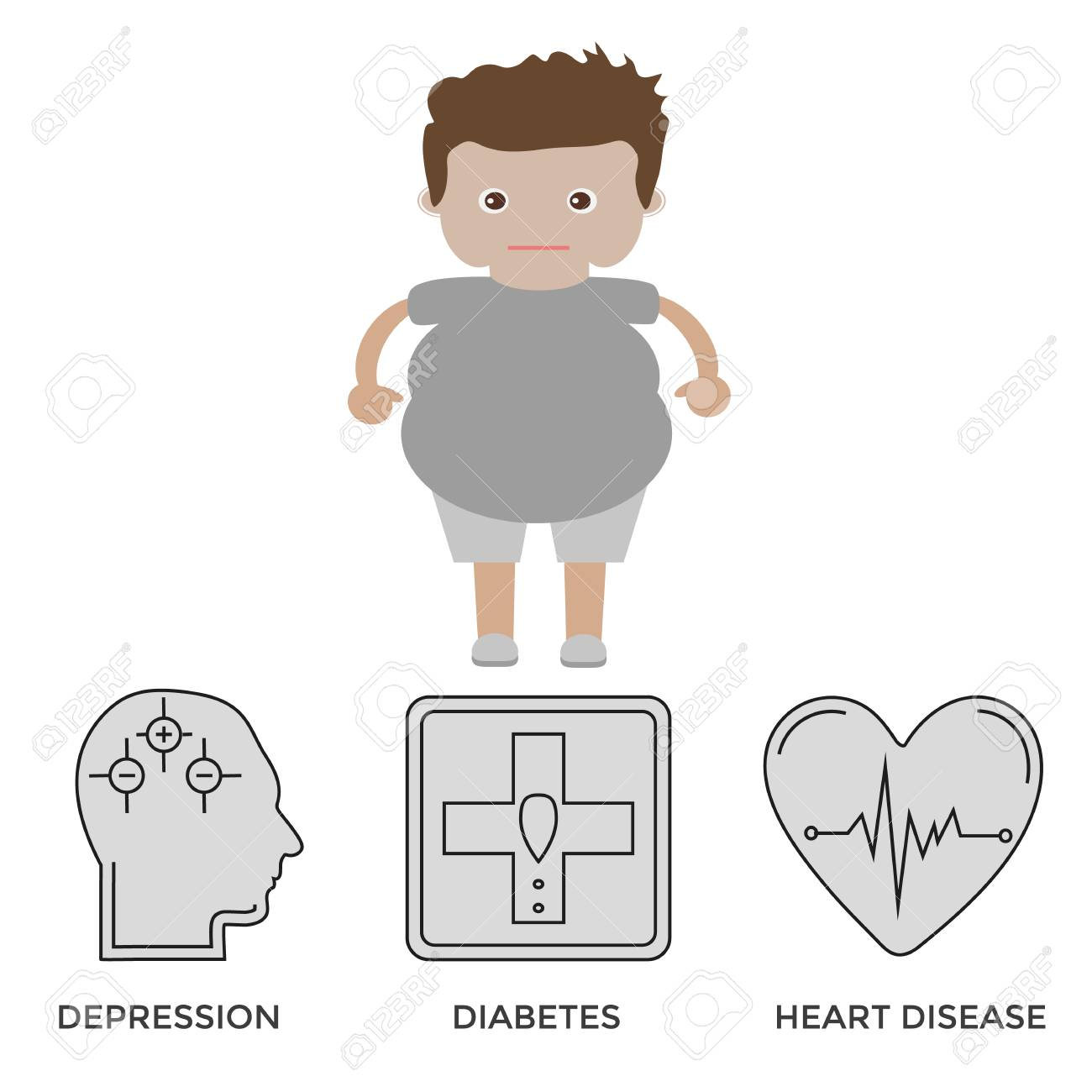 concept of obesity related disease black clean icons set royalty