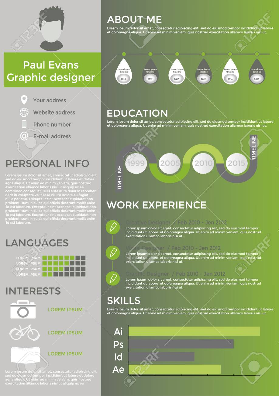 Flat Resume Info Graphic Design Resume Cv Set With Infographics