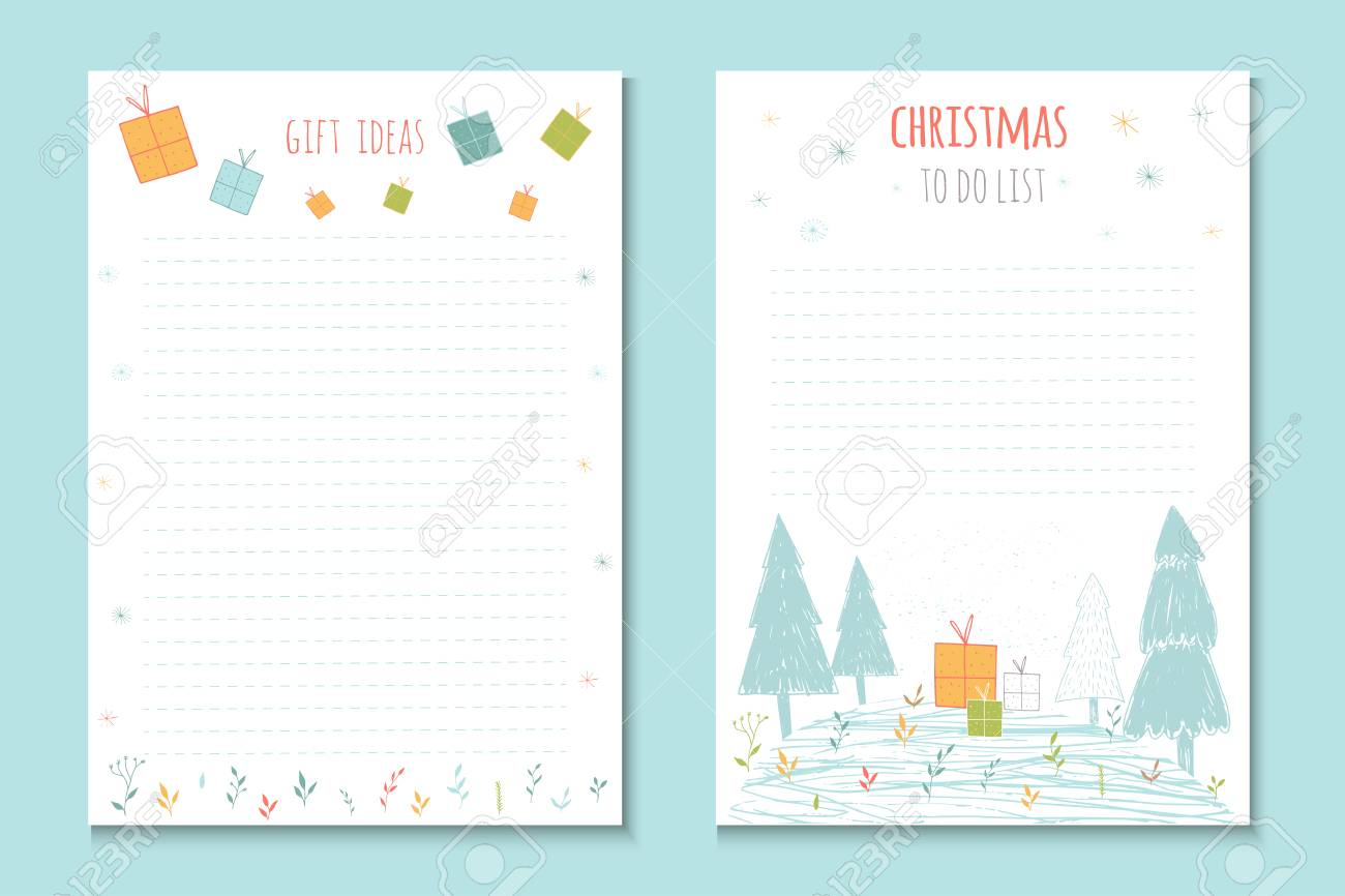 christmas holiday to do lists, cute notes with winter vector