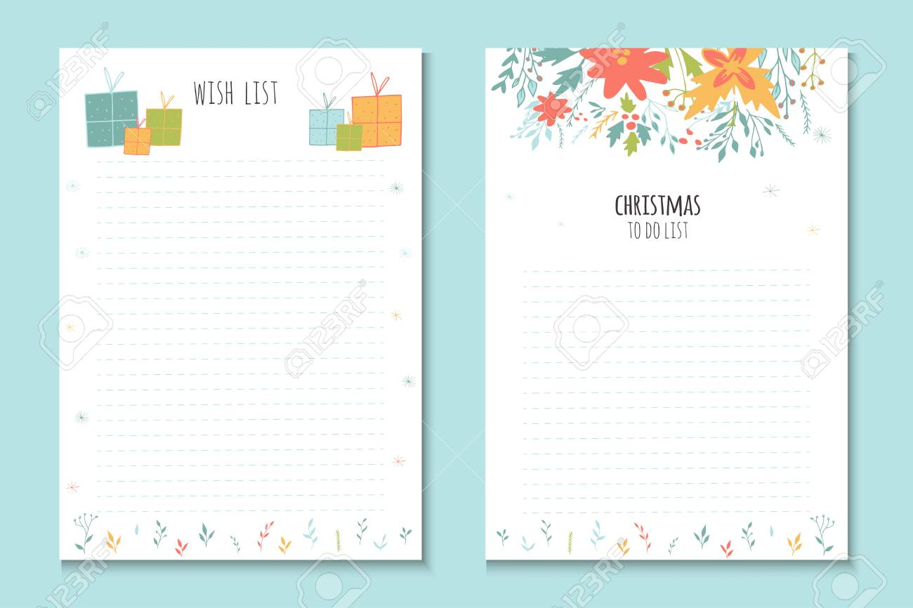 christmas holiday to do lists cute notes with winter vector illustrations template for party