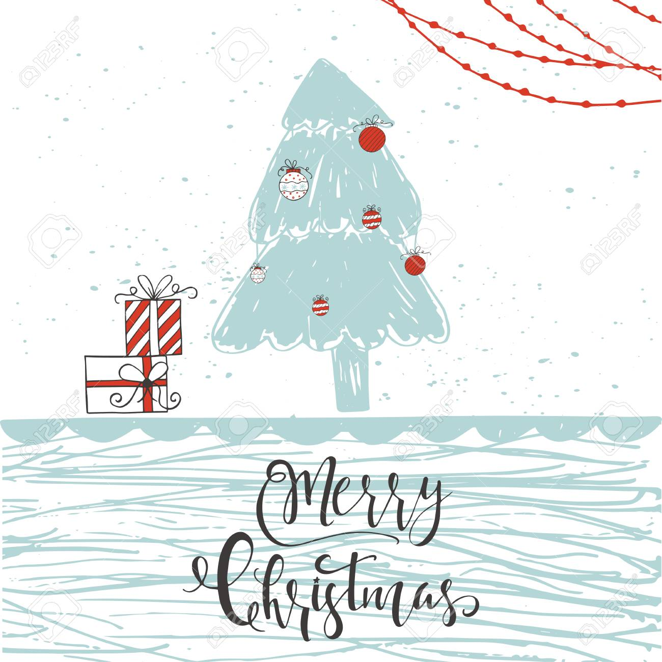 Cute Christmas gift card with lettering quote Merry Christmas,..