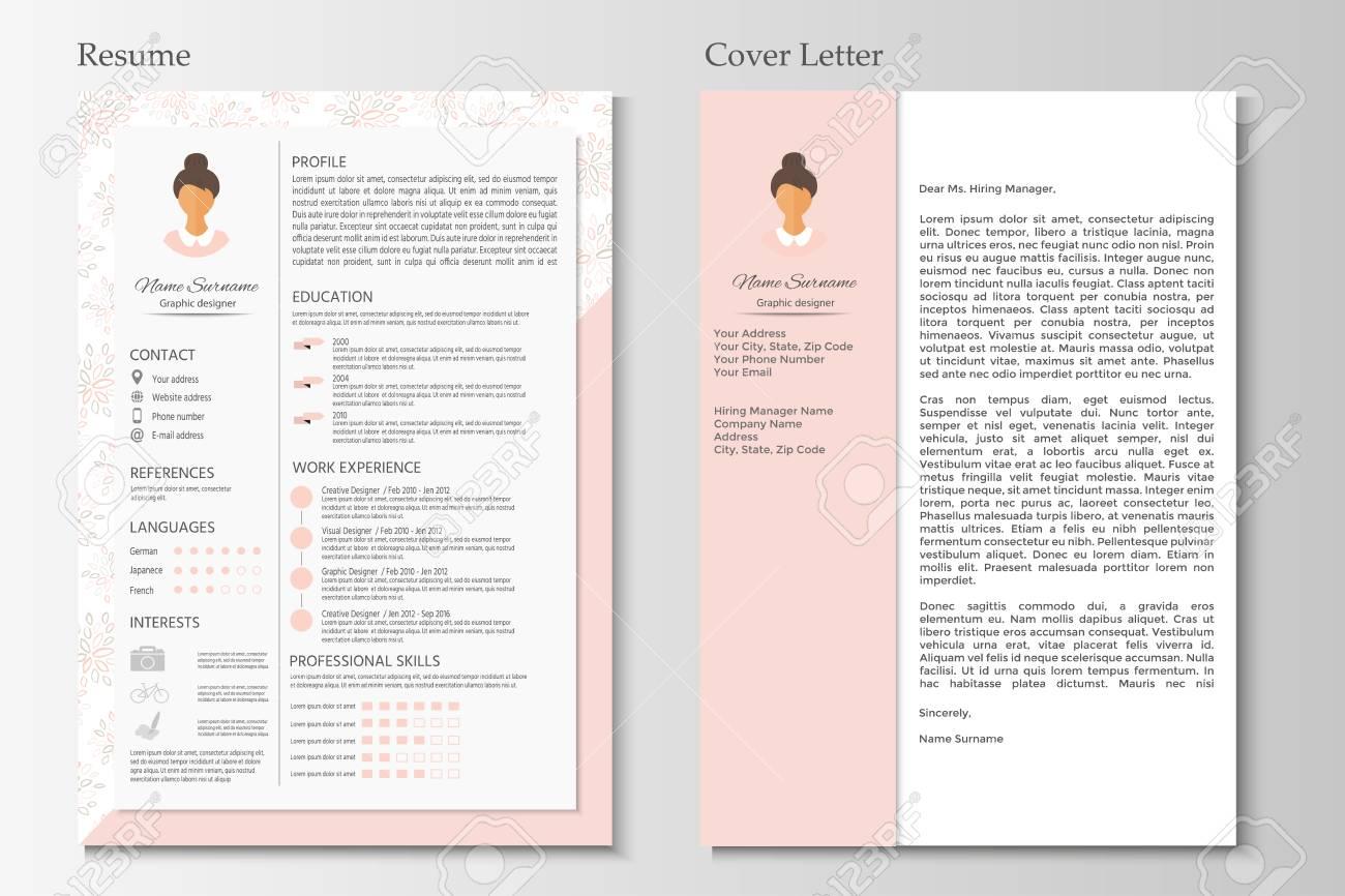 Weiblicher Lebenslauf Und Anschreiben Mit Infographik Design ...
