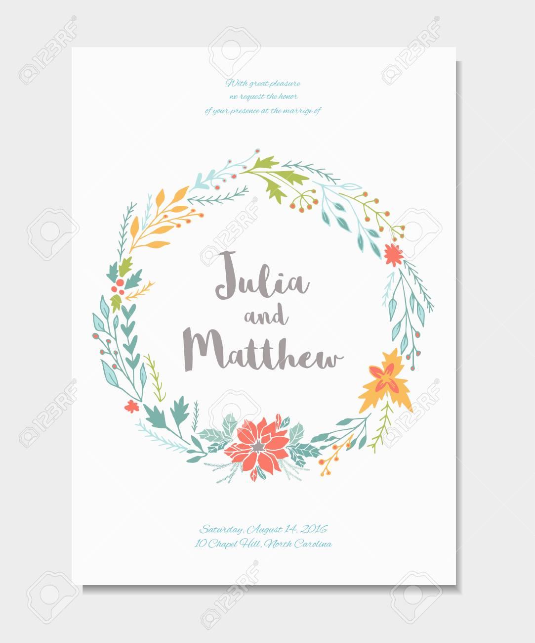 Invitacion De Boda Con Corona Floral Flores Plantilla De Vectores