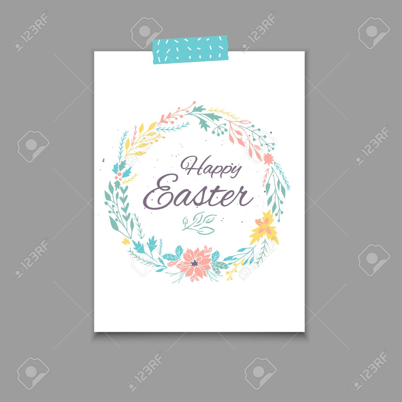 Easter Postcard Template Hand Drawn Illustration Modern Or Invitation For Holliday Stock