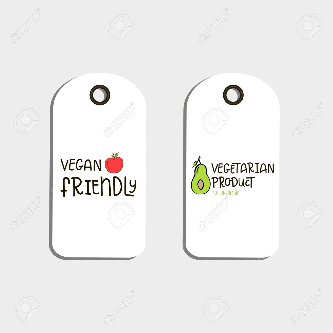 set of vector eco badge or tag bio green logo vegan sign for cafe