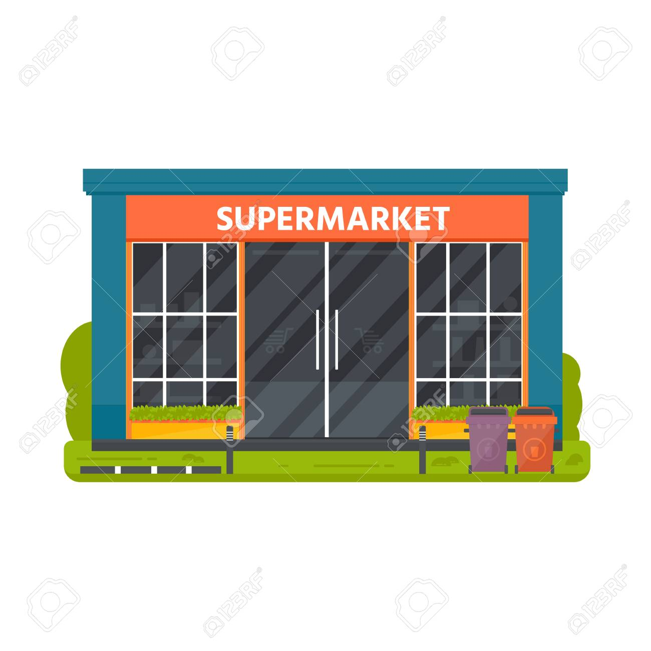 Vector Flat Design Restaurants Exterior And Shops Facade Supermarket Royalty Free Cliparts Vectors And Stock Illustration Image 103403821