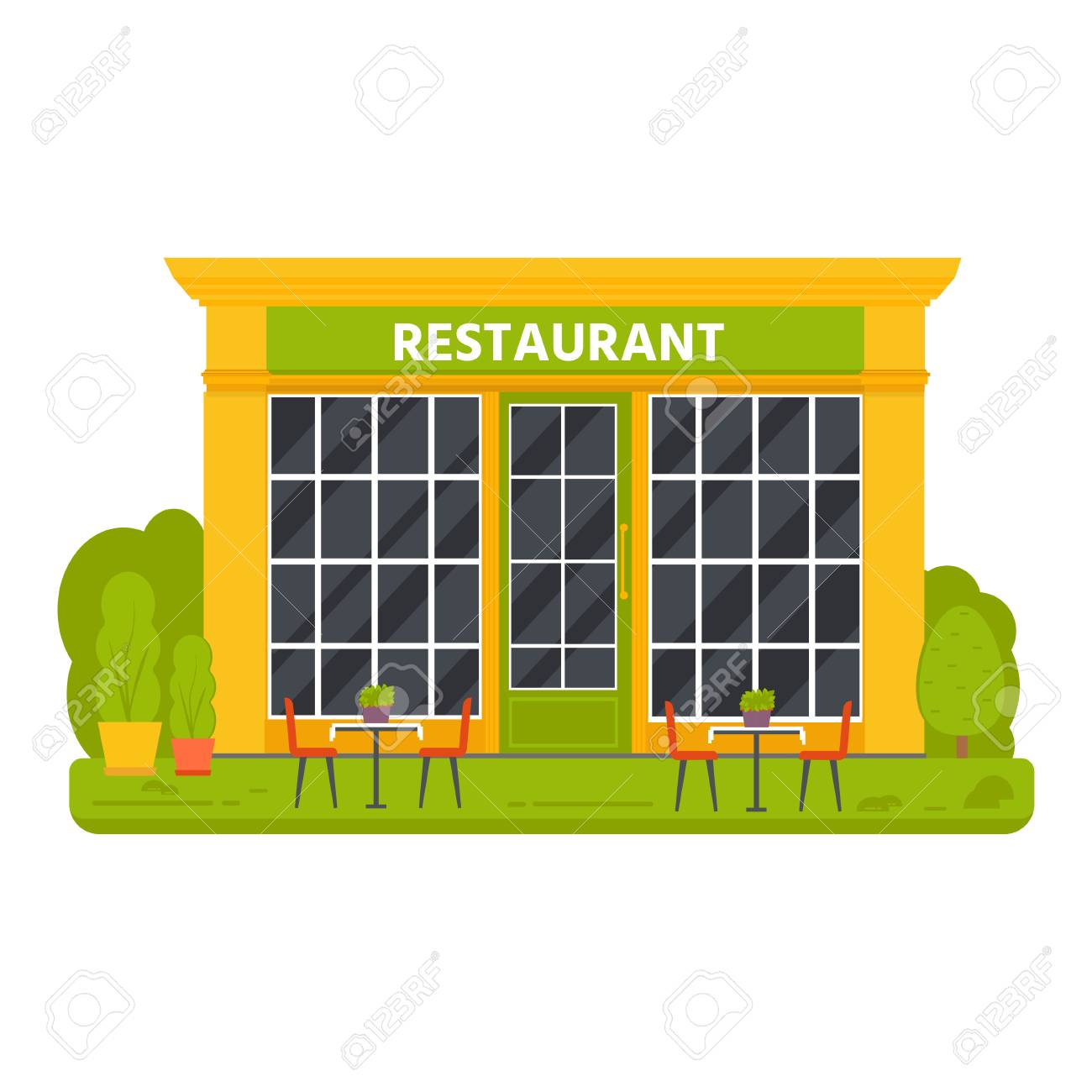Vector Flat Design Restaurant Exterior Shop Facade Store Front Royalty Free Cliparts Vectors And Stock Illustration Image 103403822