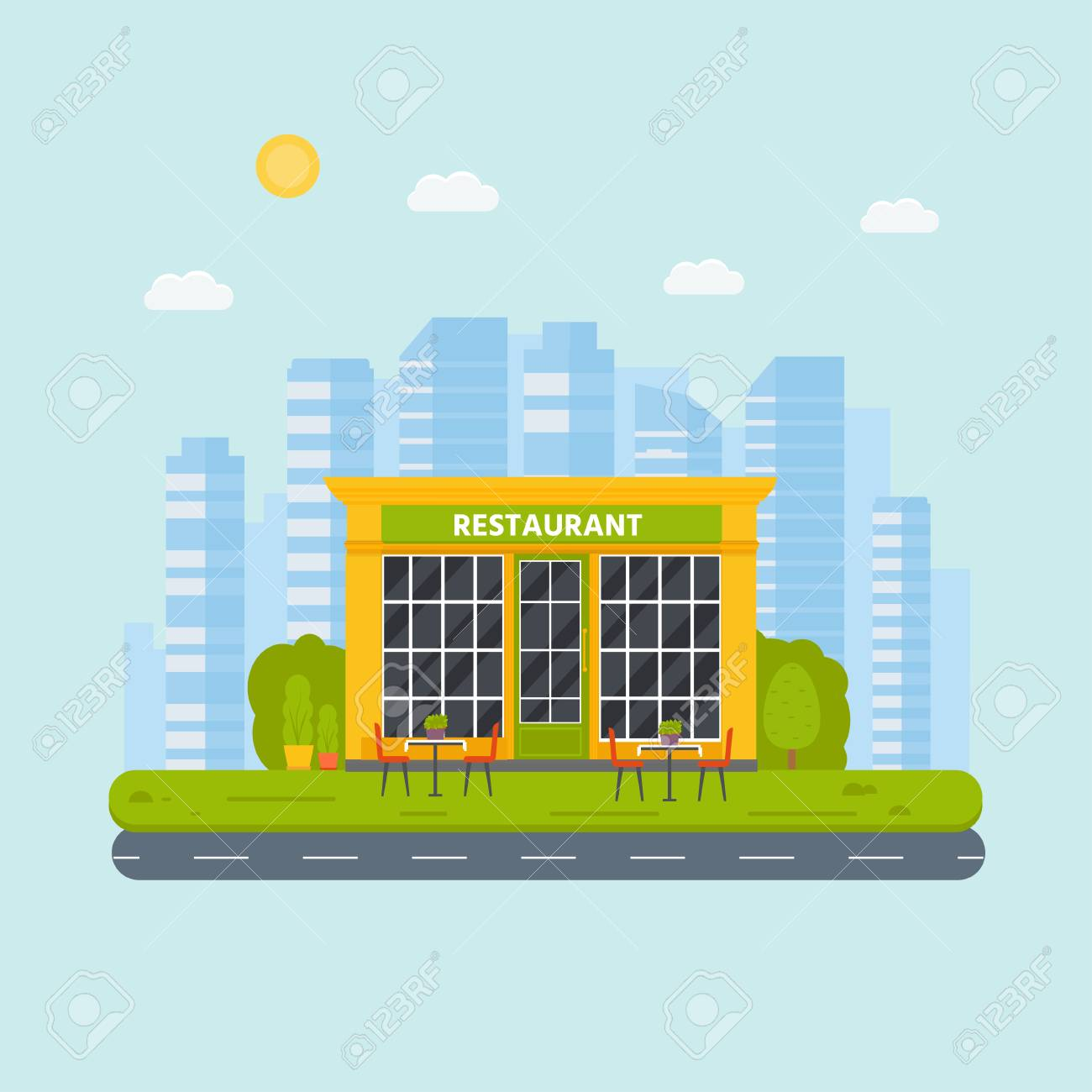 Vector Flat Design Restaurant Exterior Shop Facade Store Front Royalty Free Cliparts Vectors And Stock Illustration Image 104789834